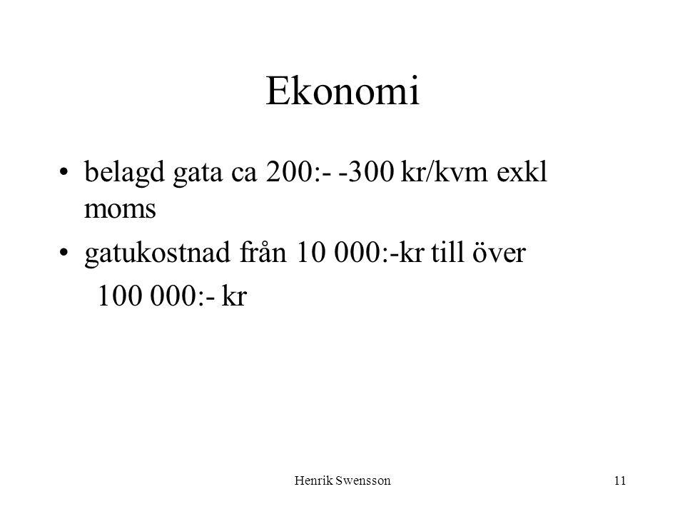 Henrik Swensson11 Ekonomi belagd gata ca 200:- -300 kr/kvm exkl moms gatukostnad från 10 000:-kr till över 100 000:- kr