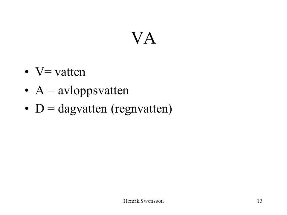 Henrik Swensson13 VA V= vatten A = avloppsvatten D = dagvatten (regnvatten)