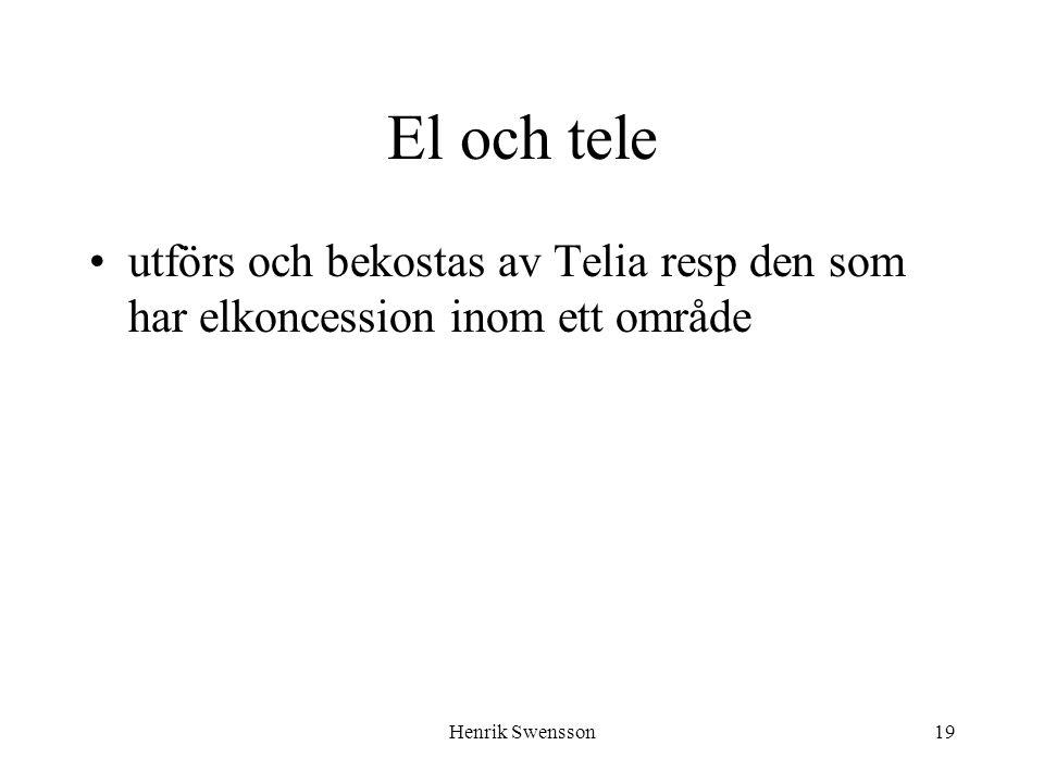 Henrik Swensson19 El och tele utförs och bekostas av Telia resp den som har elkoncession inom ett område