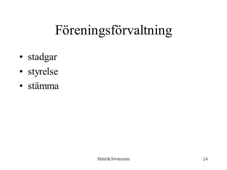 Henrik Swensson24 Föreningsförvaltning stadgar styrelse stämma