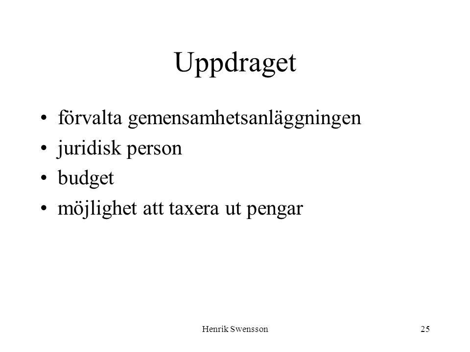 Henrik Swensson25 Uppdraget förvalta gemensamhetsanläggningen juridisk person budget möjlighet att taxera ut pengar