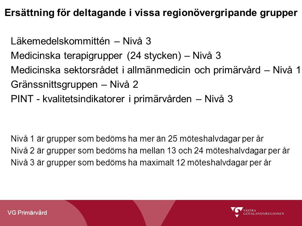 VG Primärvård Ersättning för deltagande i vissa regionövergripande grupper Läkemedelskommittén – Nivå 3 Medicinska terapigrupper (24 stycken) – Nivå 3