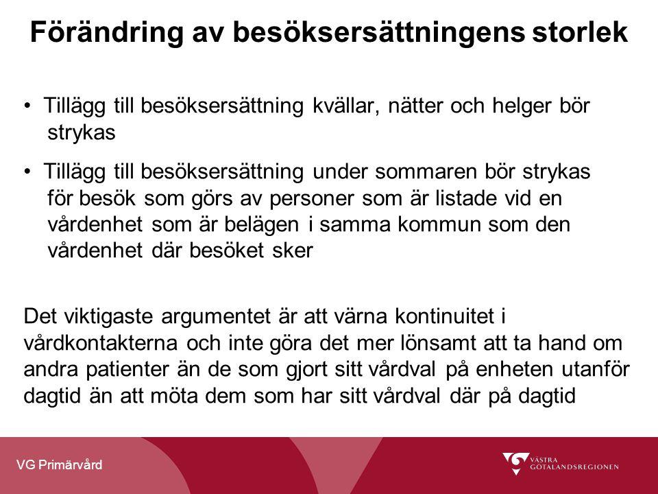 VG Primärvård Förändring av besöksersättningens storlek Tillägg till besöksersättning kvällar, nätter och helger bör strykas Tillägg till besöksersätt