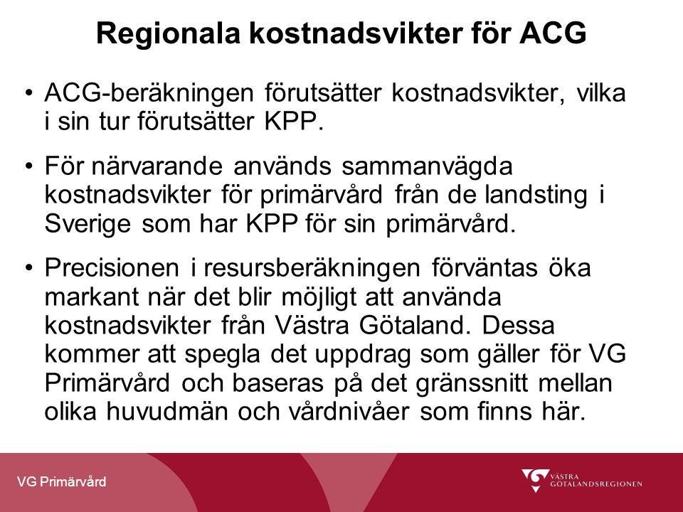 VG Primärvård Regionala kostnadsvikter för ACG ACG-beräkningen förutsätter kostnadsvikter, vilka i sin tur förutsätter KPP. För närvarande används sam