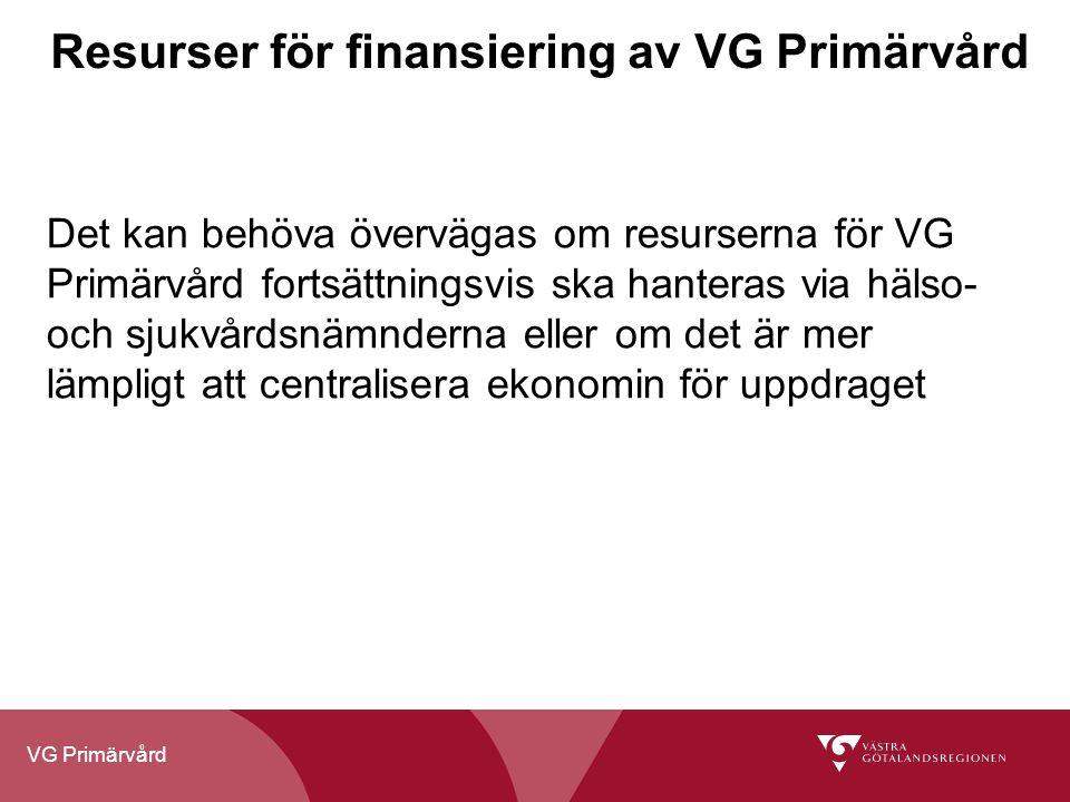 VG Primärvård Resurser för finansiering av VG Primärvård Det kan behöva övervägas om resurserna för VG Primärvård fortsättningsvis ska hanteras via hä
