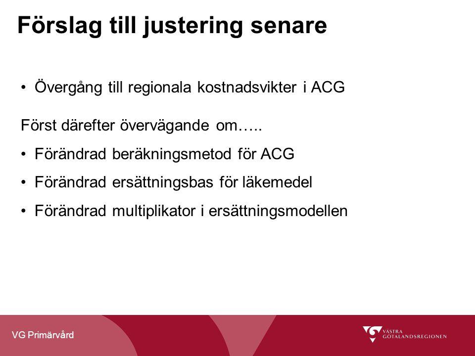 VG Primärvård Förslag till justering senare Övergång till regionala kostnadsvikter i ACG Först därefter övervägande om….. Förändrad beräkningsmetod fö