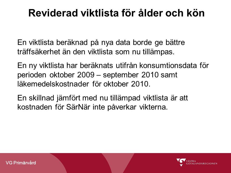 VG Primärvård Reviderad viktlista för ålder och kön En viktlista beräknad på nya data borde ge bättre träffsäkerhet än den viktlista som nu tillämpas.