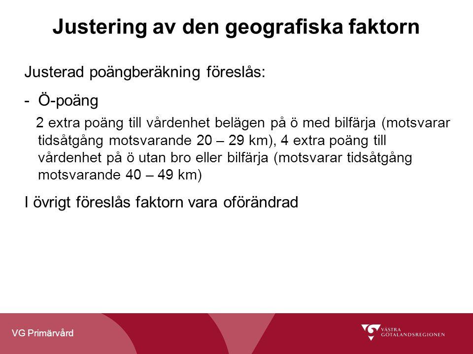 VG Primärvård Justering av den geografiska faktorn Justerad poängberäkning föreslås: -Ö-poäng 2 extra poäng till vårdenhet belägen på ö med bilfärja (