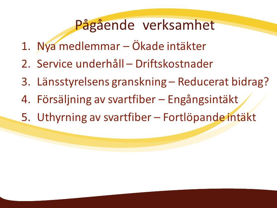 Pågående verksamhet 1.Nya medlemmar – Ökade intäkter 2.Service underhåll – Driftskostnader 3.Länsstyrelsens granskning – Reducerat bidrag.