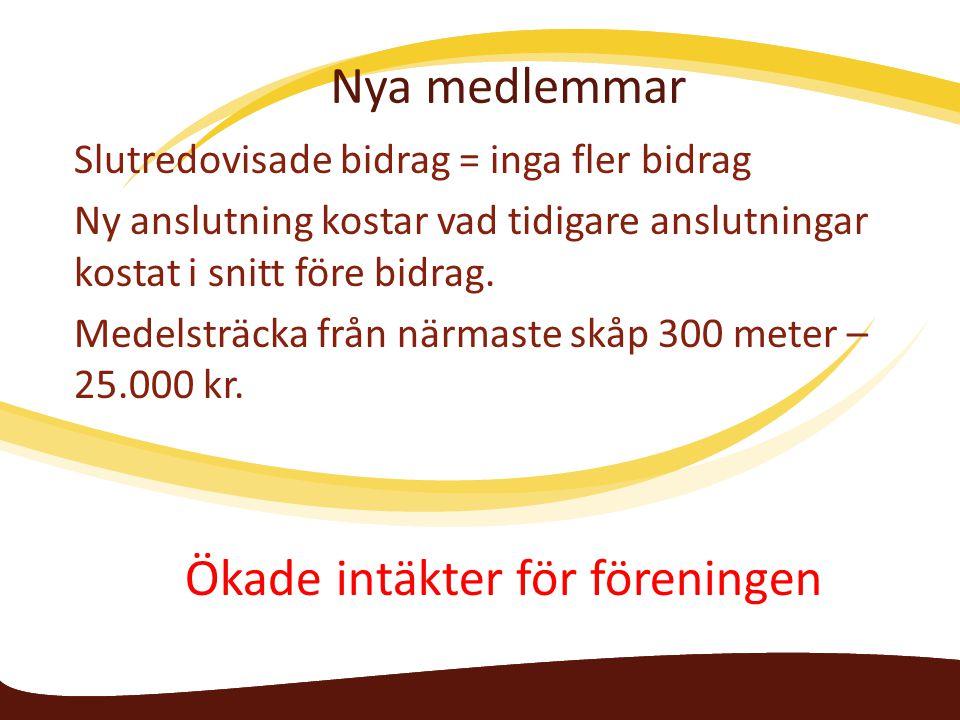 Nya medlemmar Slutredovisade bidrag = inga fler bidrag Ny anslutning kostar vad tidigare anslutningar kostat i snitt före bidrag.