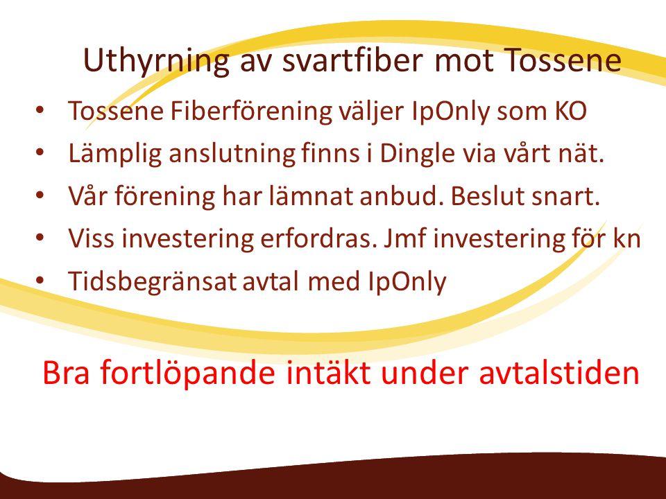 Uthyrning av svartfiber mot Tossene Tossene Fiberförening väljer IpOnly som KO Lämplig anslutning finns i Dingle via vårt nät. Vår förening har lämnat