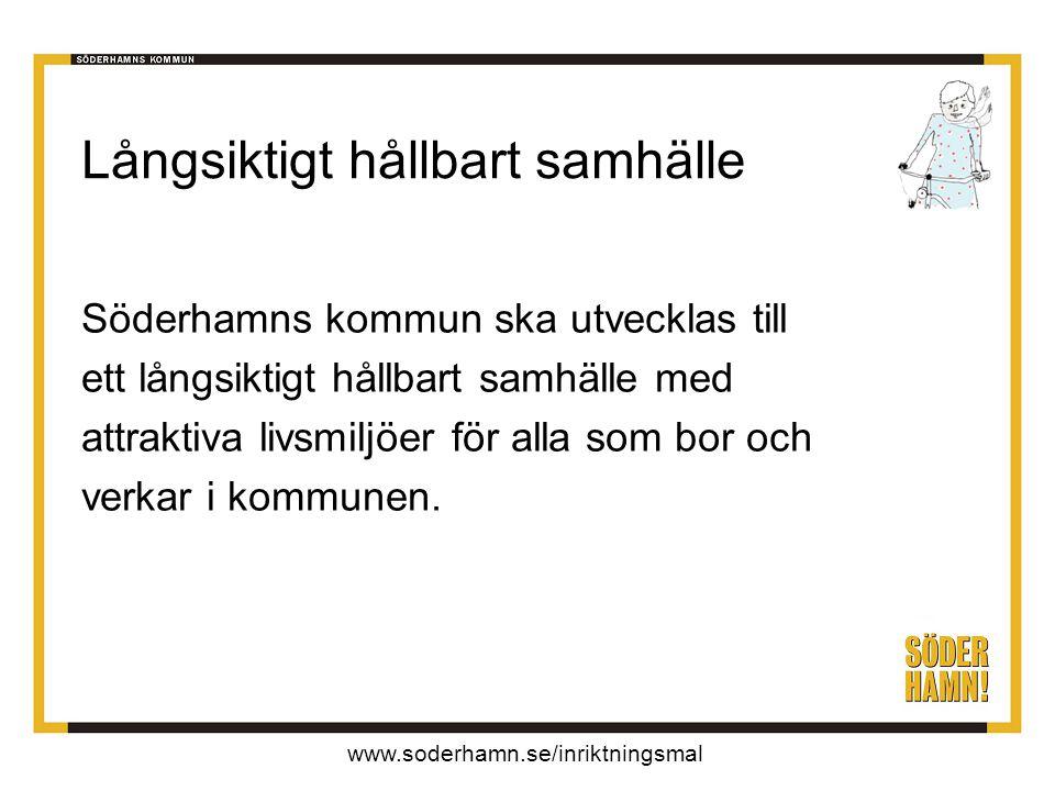 www.soderhamn.se/inriktningsmal Långsiktigt hållbart samhälle Söderhamns kommun ska utvecklas till ett långsiktigt hållbart samhälle med attraktiva livsmiljöer för alla som bor och verkar i kommunen.