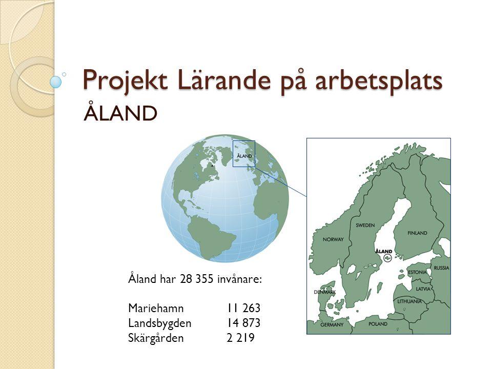 Projekt Lärande på arbetsplats ÅLAND Åland har 28 355 invånare: Mariehamn 11 263 Landsbygden14 873 Skärgården2 219