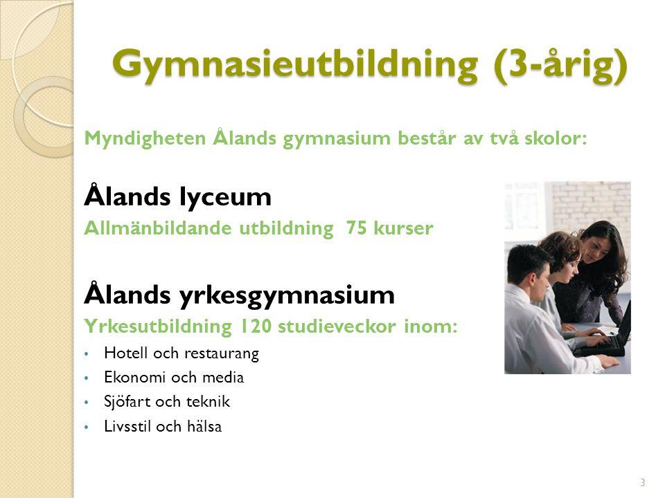 Gymnasieutbildning (3-årig) Myndigheten Ålands gymnasium består av två skolor: Ålands lyceum Allmänbildande utbildning 75 kurser Ålands yrkesgymnasium Yrkesutbildning 120 studieveckor inom: Hotell och restaurang Ekonomi och media Sjöfart och teknik Livsstil och hälsa 3