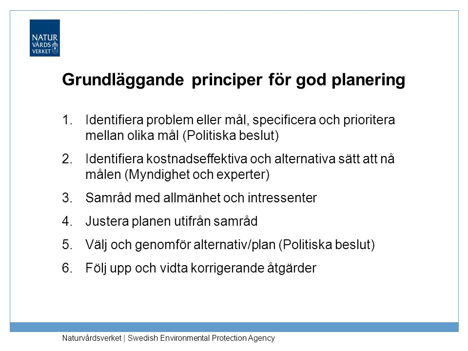 Naturvårdsverket   Swedish Environmental Protection Agency Grundläggande principer för god planering 1.Identifiera problem eller mål, specificera och