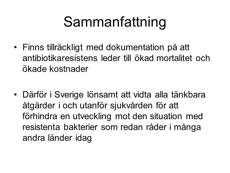 Sammanfattning Finns tillräckligt med dokumentation på att antibiotikaresistens leder till ökad mortalitet och ökade kostnader Därför i Sverige lönsam