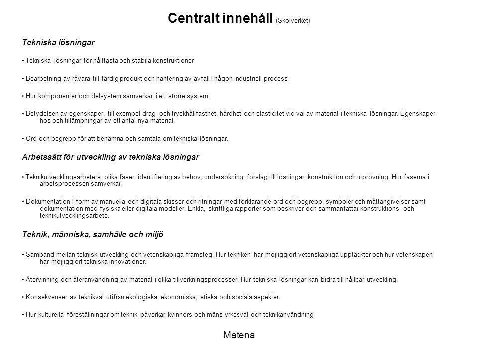 Matena Centralt innehåll (Skolverket) Tekniska lösningar Tekniska lösningar för hållfasta och stabila konstruktioner Bearbetning av råvara till färdig