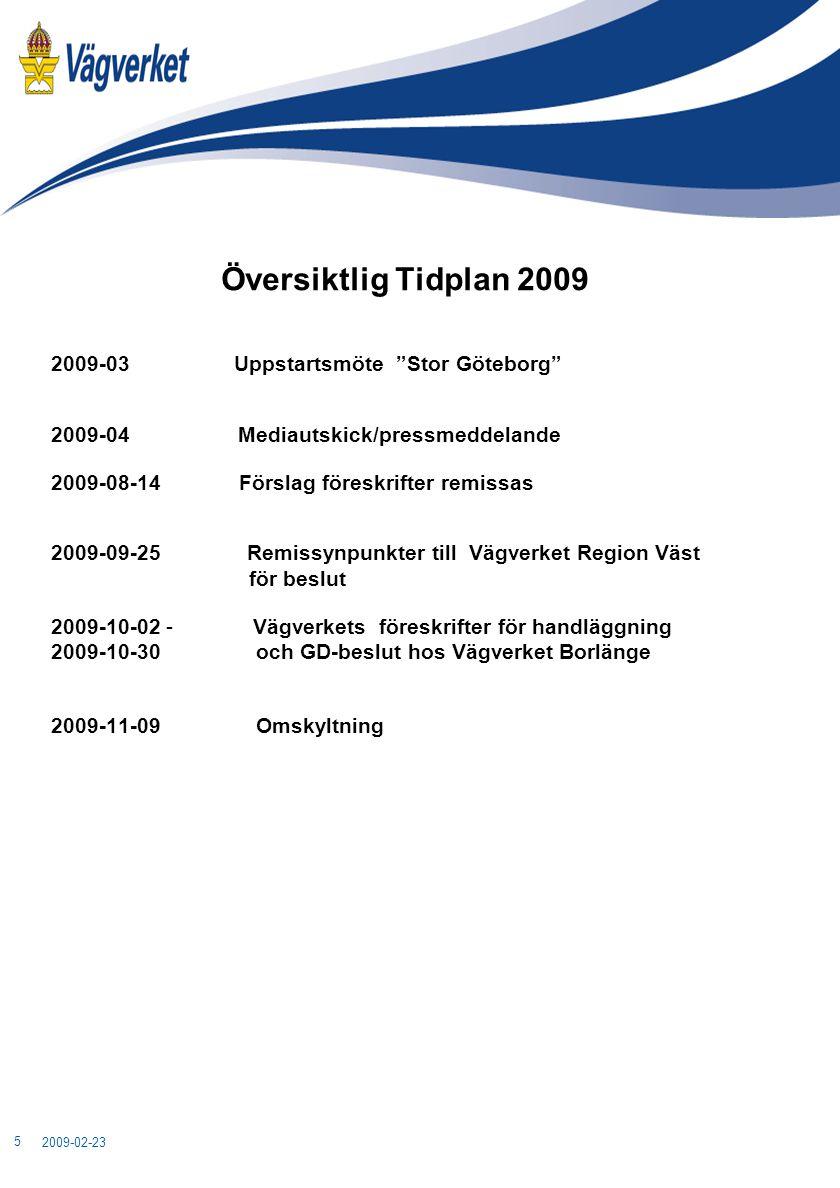 """Översiktlig Tidplan 2009 2009-03 Uppstartsmöte """"Stor Göteborg"""" 2009-04 Mediautskick/pressmeddelande 2009-08-14 Förslag föreskrifter remissas 2009-09-2"""