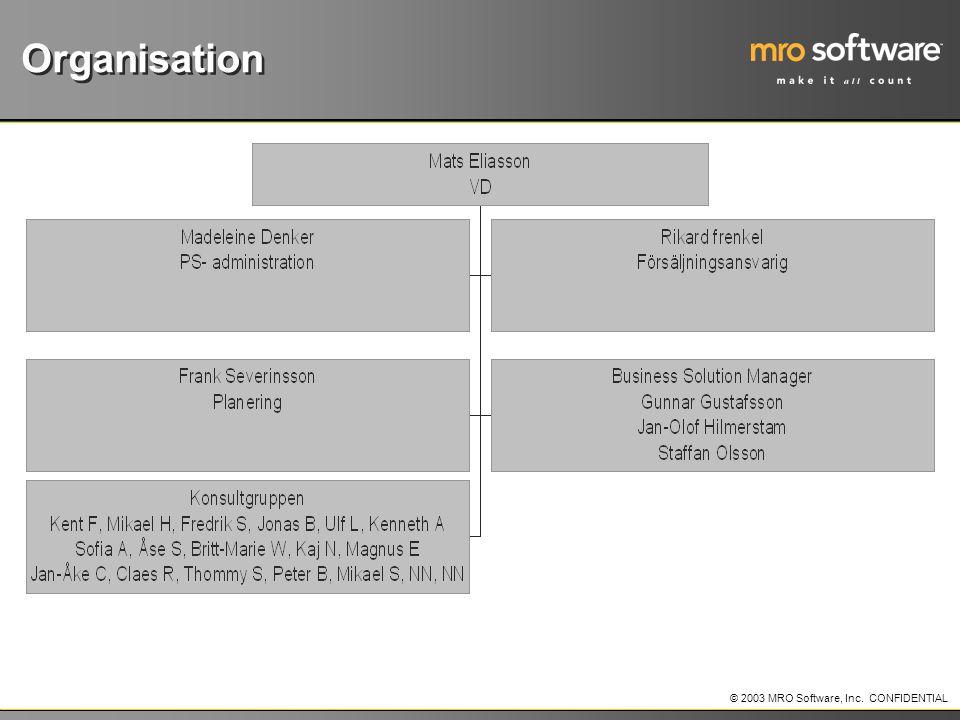 © 2003 MRO Software, Inc. CONFIDENTIAL Organisation