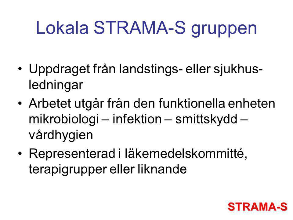 Lokala STRAMA-S gruppen Uppdraget från landstings- eller sjukhus- ledningar Arbetet utgår från den funktionella enheten mikrobiologi – infektion – smittskydd – vårdhygien Representerad i läkemedelskommitté, terapigrupper eller liknande STRAMA-S