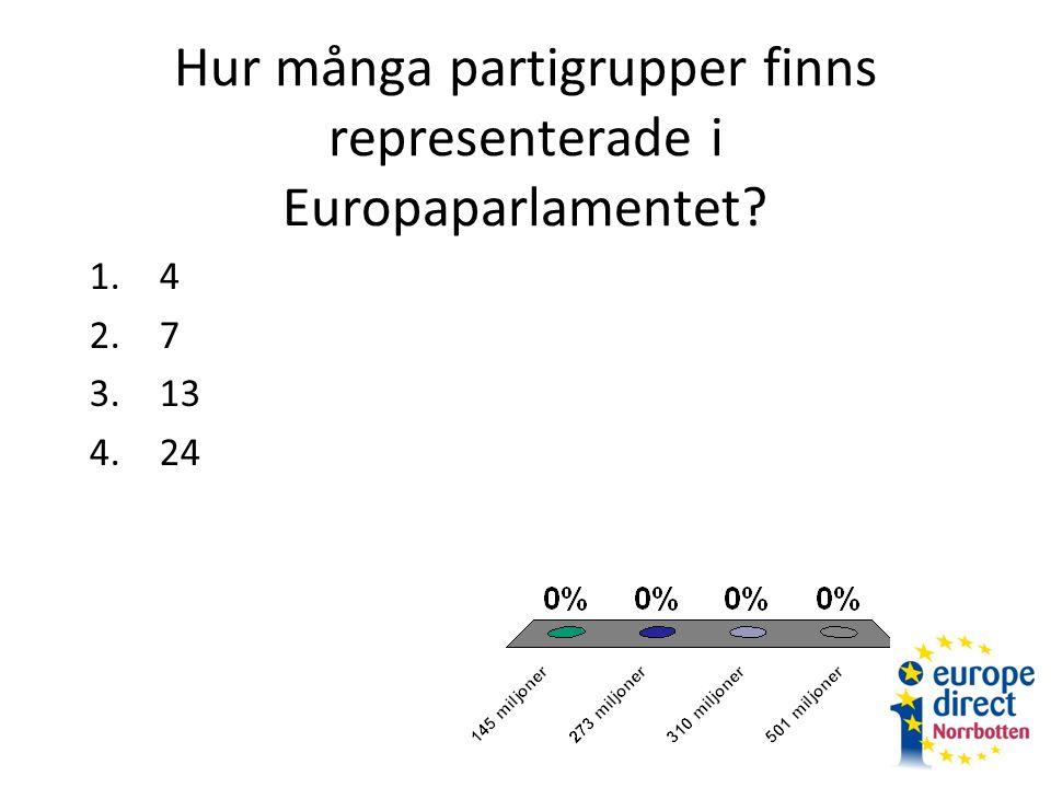 Hur många partigrupper finns representerade i Europaparlamentet 1.4 2.7 3.13 4.24