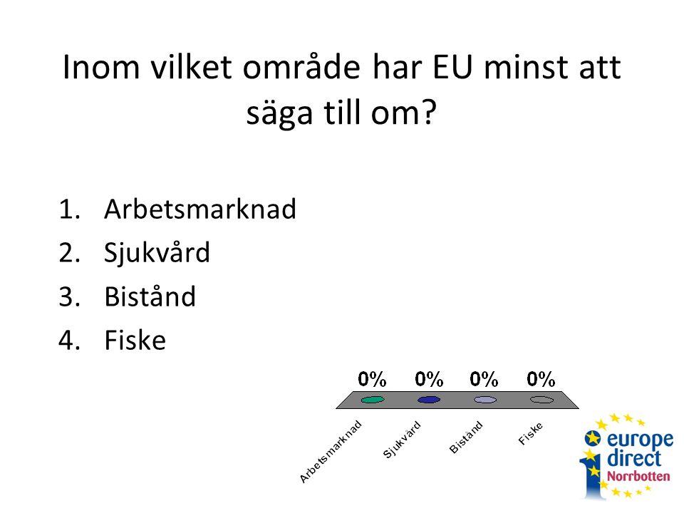 Inom vilket område har EU minst att säga till om 1.Arbetsmarknad 2.Sjukvård 3.Bistånd 4.Fiske
