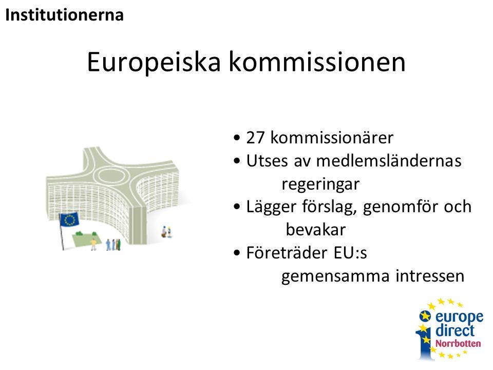 Europeiska kommissionen 27 kommissionärer Utses av medlemsländernas regeringar Lägger förslag, genomför och bevakar Företräder EU:s gemensamma intressen Institutionerna