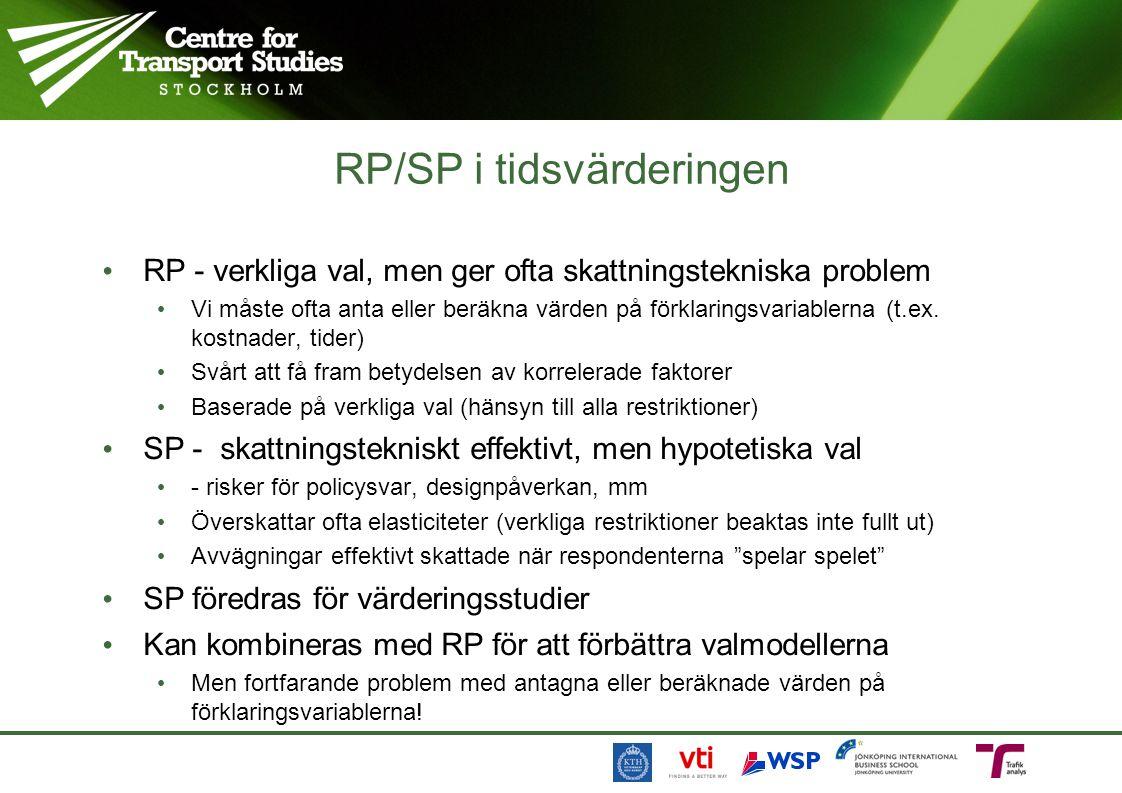RP/SP i tidsvärderingen RP - verkliga val, men ger ofta skattningstekniska problem Vi måste ofta anta eller beräkna värden på förklaringsvariablerna (t.ex.
