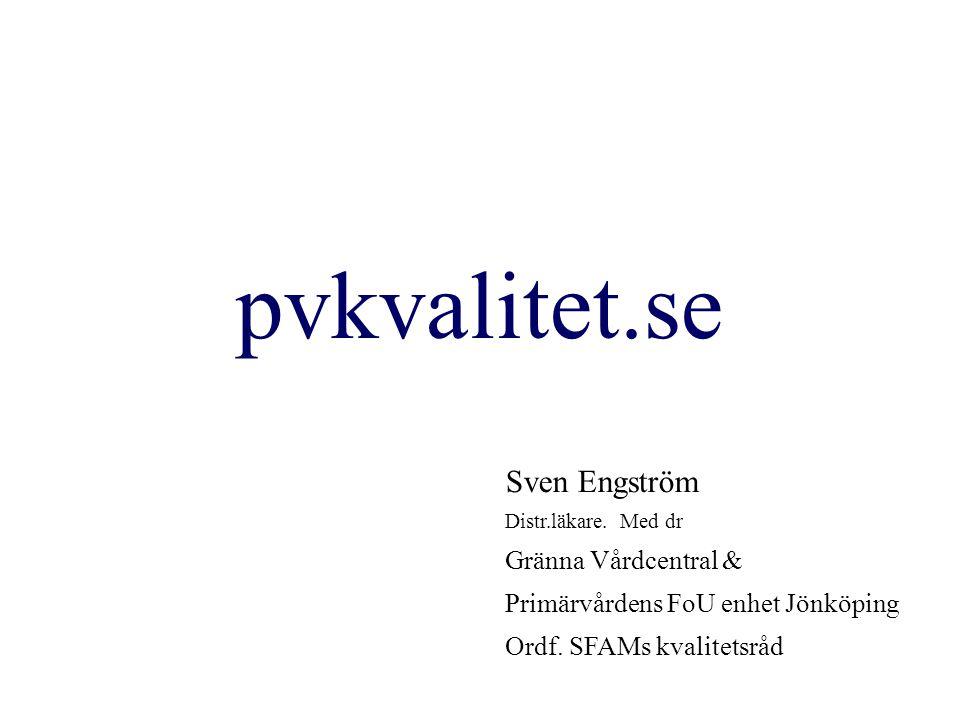 pvkvalitet.se Sven Engström Distr.läkare. Med dr Gränna Vårdcentral & Primärvårdens FoU enhet Jönköping Ordf. SFAMs kvalitetsråd