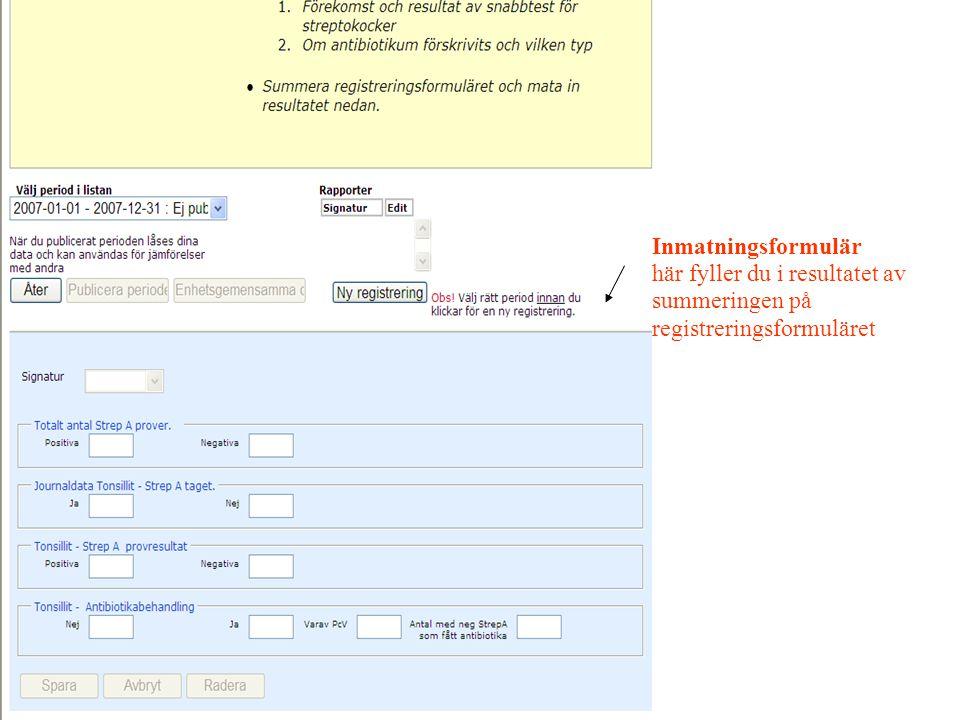 Inmatningsformulär här fyller du i resultatet av summeringen på registreringsformuläret