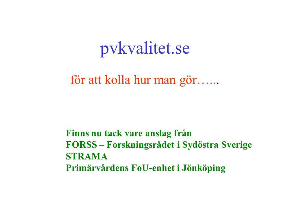 pvkvalitet.se för att kolla hur man gör…... Finns nu tack vare anslag från FORSS – Forskningsrådet i Sydöstra Sverige STRAMA Primärvårdens FoU-enhet i
