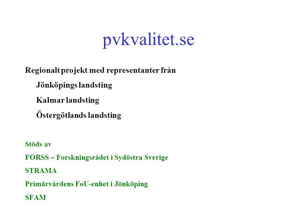 pvkvalitet.se Regionalt projekt med representanter från Jönköpings landsting Kalmar landsting Östergötlands landsting Stöds av FORSS – Forskningsrådet