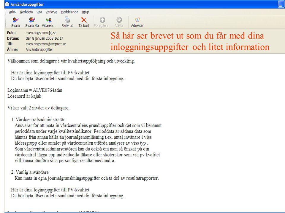 Så här ser brevet ut som du får med dina inloggningsuppgifter och litet information