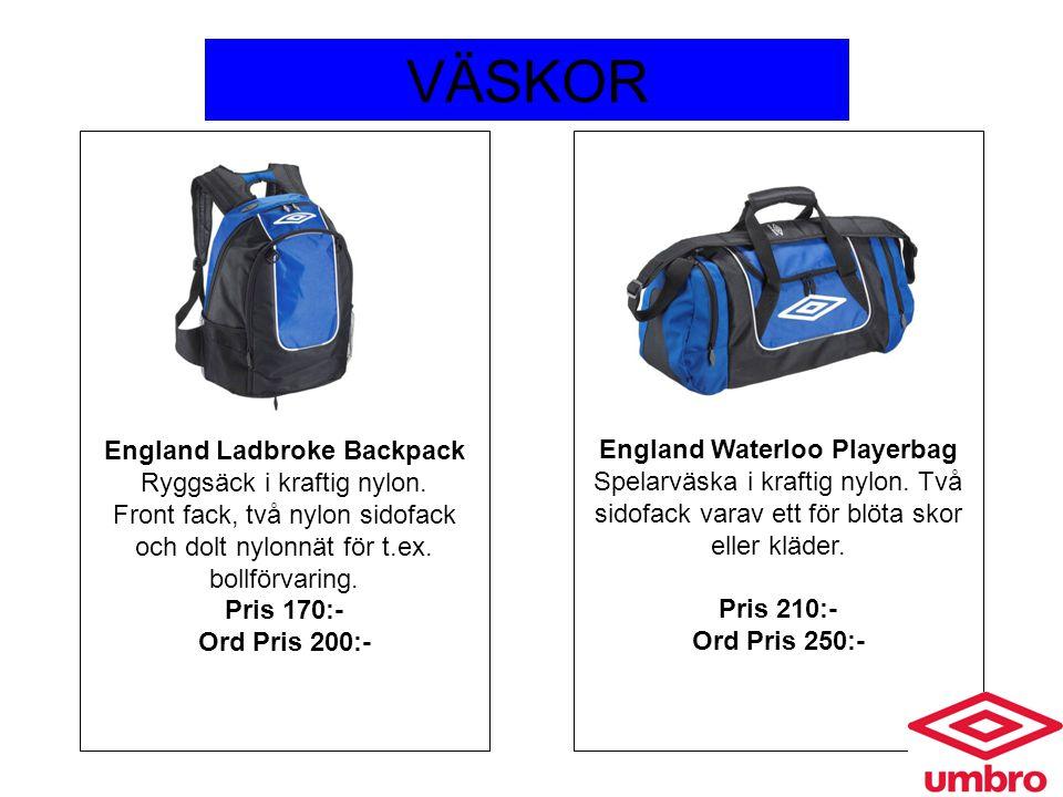 VÄSKOR England Waterloo Playerbag Spelarväska i kraftig nylon. Två sidofack varav ett för blöta skor eller kläder. Pris 210:- Ord Pris 250:- England L