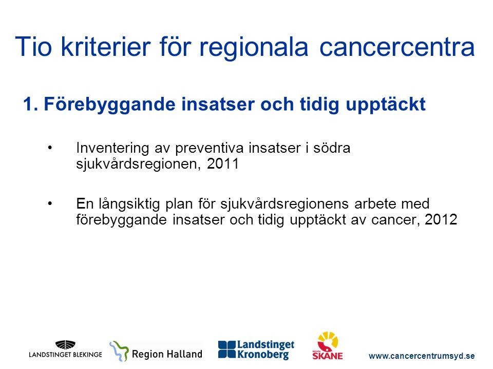 www.cancercentrumsyd.se 1. Förebyggande insatser och tidig upptäckt Inventering av preventiva insatser i södra sjukvårdsregionen, 2011 En långsiktig p