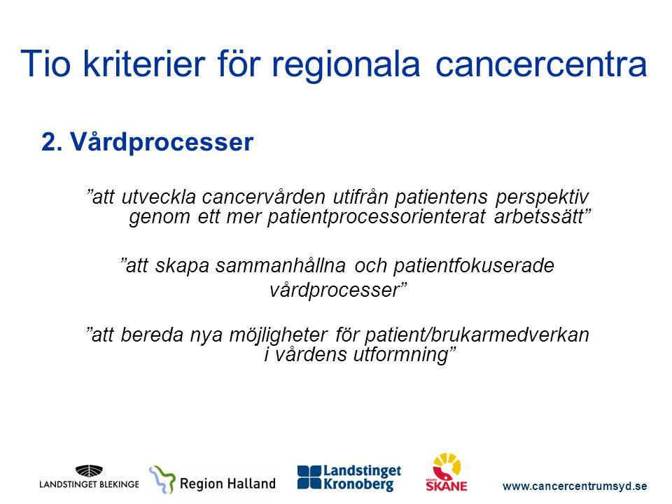 """www.cancercentrumsyd.se 2. Vårdprocesser """"att utveckla cancervården utifrån patientens perspektiv genom ett mer patientprocessorienterat arbetssätt"""" """""""