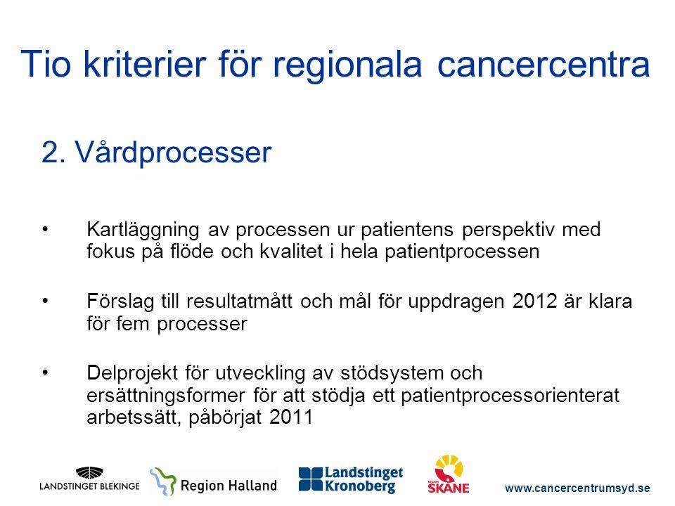 www.cancercentrumsyd.se 2. Vårdprocesser Kartläggning av processen ur patientens perspektiv med fokus på flöde och kvalitet i hela patientprocessen Fö