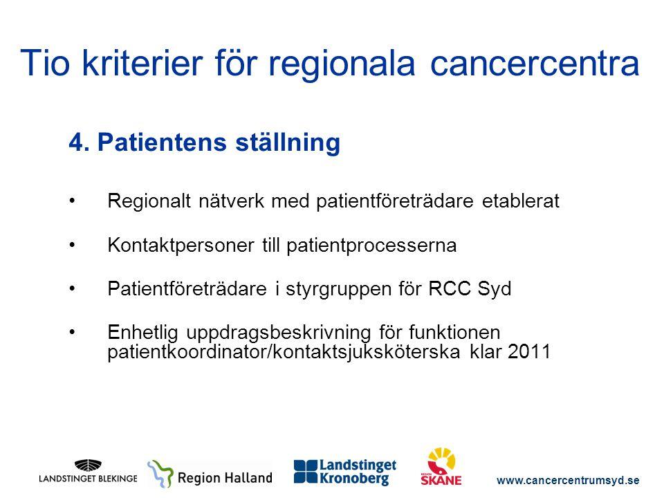 www.cancercentrumsyd.se 4. Patientens ställning Regionalt nätverk med patientföreträdare etablerat Kontaktpersoner till patientprocesserna Patientföre