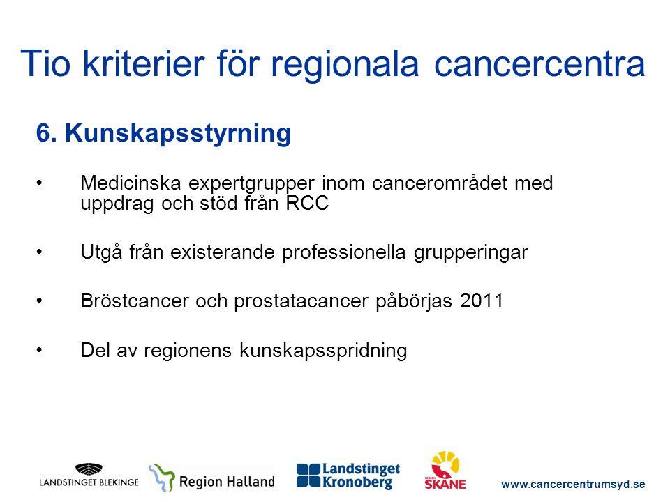 www.cancercentrumsyd.se 6. Kunskapsstyrning Medicinska expertgrupper inom cancerområdet med uppdrag och stöd från RCC Utgå från existerande profession