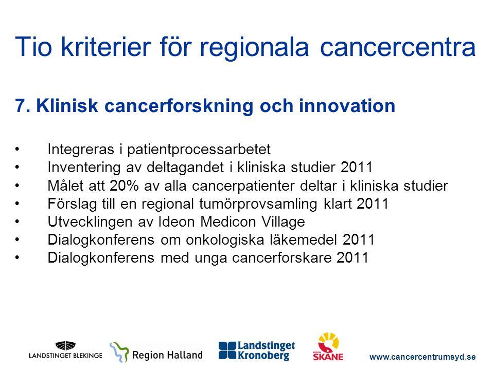 www.cancercentrumsyd.se 7. Klinisk cancerforskning och innovation Integreras i patientprocessarbetet Inventering av deltagandet i kliniska studier 201