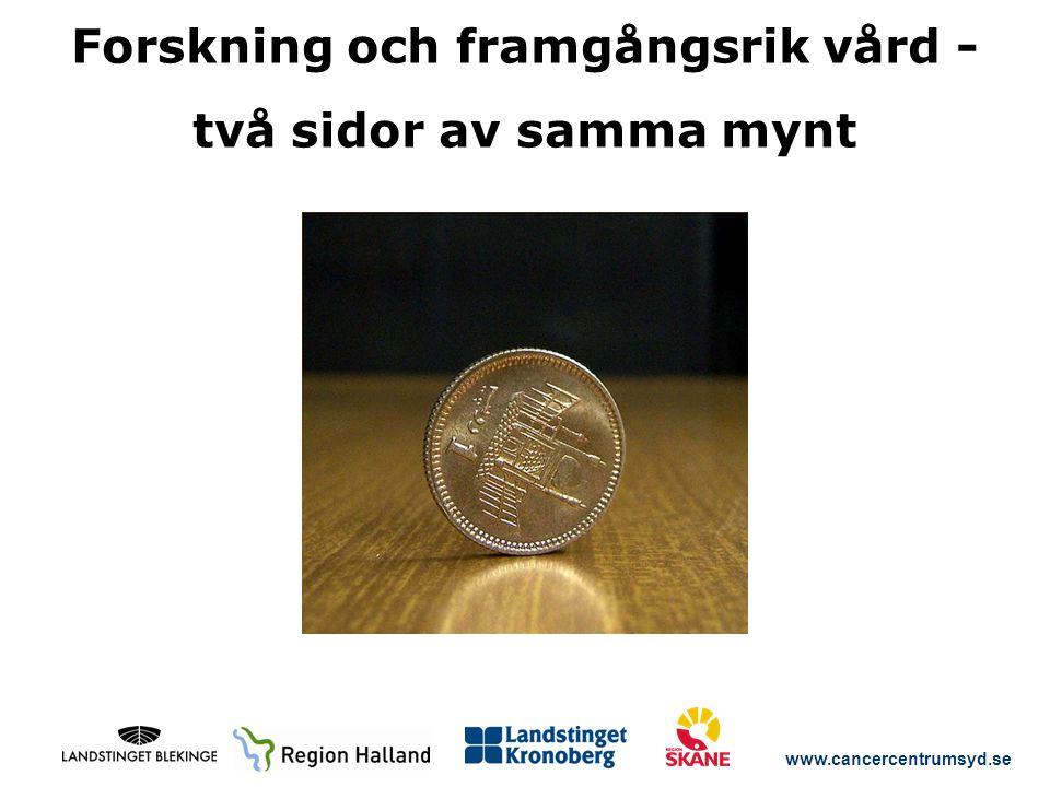 www.cancercentrumsyd.se Forskning och framgångsrik vård - två sidor av samma mynt