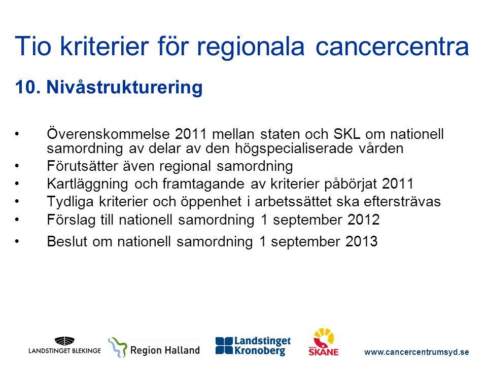 www.cancercentrumsyd.se 10. Nivåstrukturering Överenskommelse 2011 mellan staten och SKL om nationell samordning av delar av den högspecialiserade vår