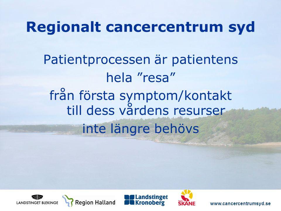 www.cancercentrumsyd.se Regionalt cancercentrum syd Patientprocessen är patientens hela resa från första symptom/kontakt till dess vårdens resurser inte längre behövs