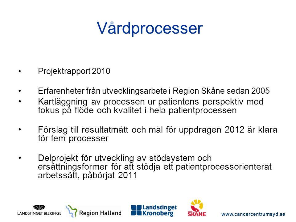 www.cancercentrumsyd.se Projektrapport 2010 Erfarenheter från utvecklingsarbete i Region Skåne sedan 2005 Kartläggning av processen ur patientens pers