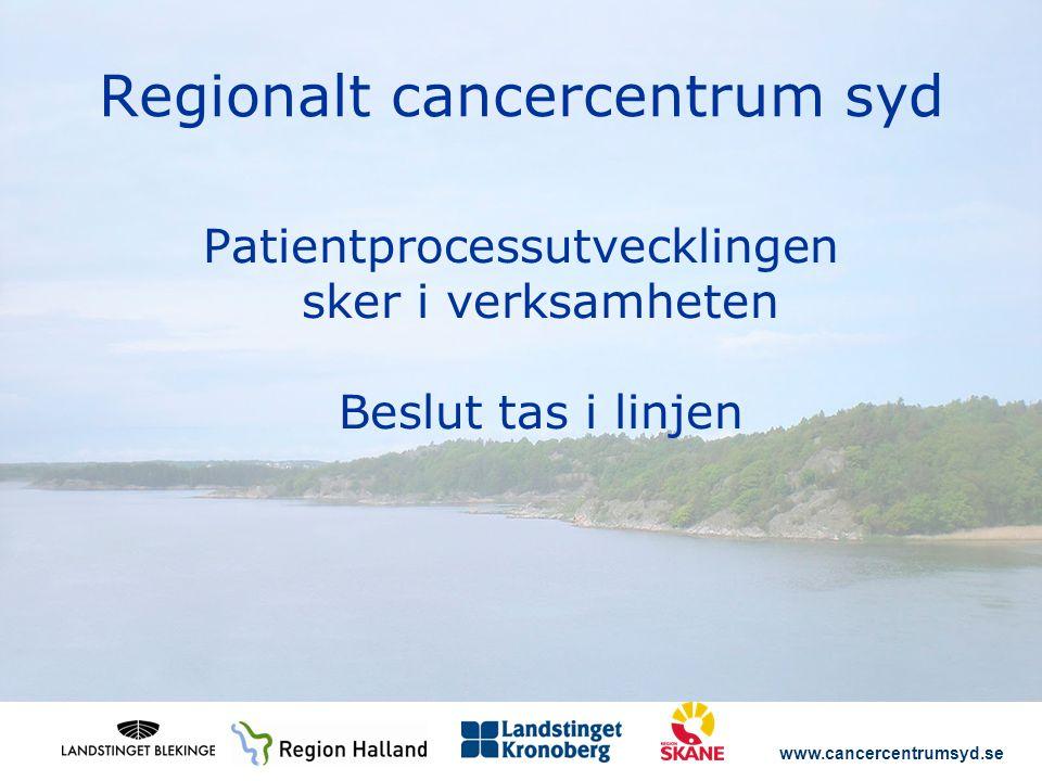 www.cancercentrumsyd.se Regionalt cancercentrum syd Patientprocessutvecklingen sker i verksamheten Beslut tas i linjen