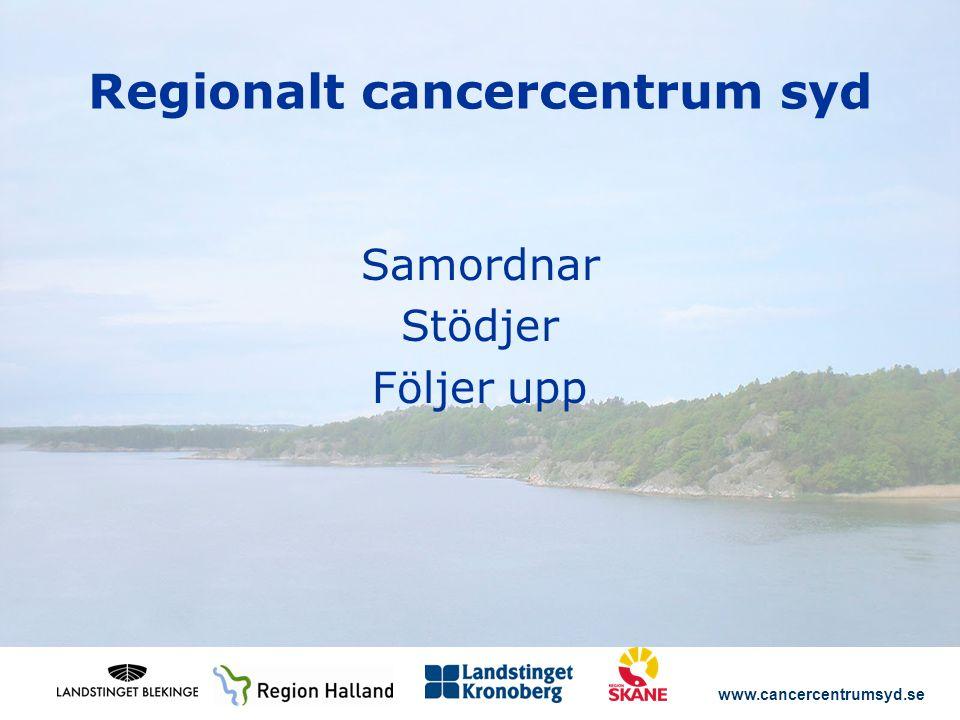 www.cancercentrumsyd.se Regionalt cancercentrum syd Samordnar Stödjer Följer upp