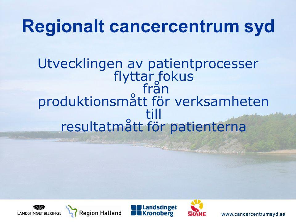 www.cancercentrumsyd.se Utvecklingen av patientprocesser flyttar fokus från produktionsmått för verksamheten till resultatmått för patienterna Regionalt cancercentrum syd