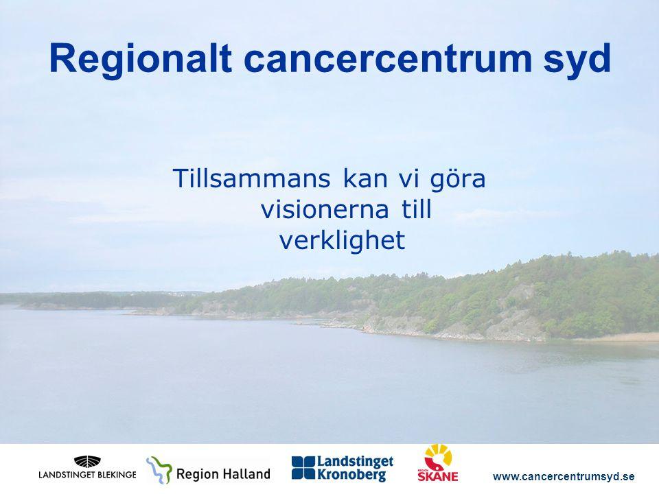www.cancercentrumsyd.se Tillsammans kan vi göra visionerna till verklighet Regionalt cancercentrum syd