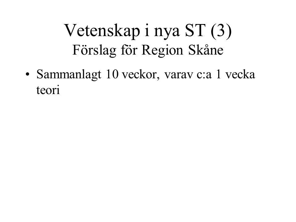 Vetenskap i nya ST (3) Förslag för Region Skåne Sammanlagt 10 veckor, varav c:a 1 vecka teori Start 1-2 år in på ST, duration 1-2 år