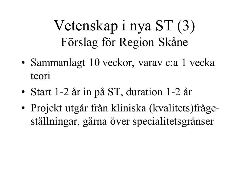 Vetenskap i nya ST (3) Förslag för Region Skåne Sammanlagt 10 veckor, varav c:a 1 vecka teori Start 1-2 år in på ST, duration 1-2 år Projekt utgår från kliniska (kvalitets)fråge- ställningar, gärna över specialitetsgränser Lokal (grupp)handledning